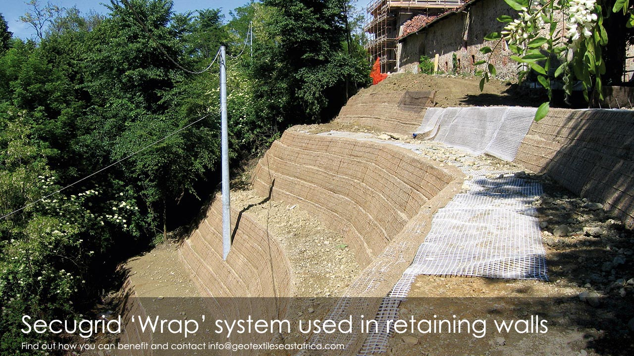 secugrid wrap system used in retaining walls