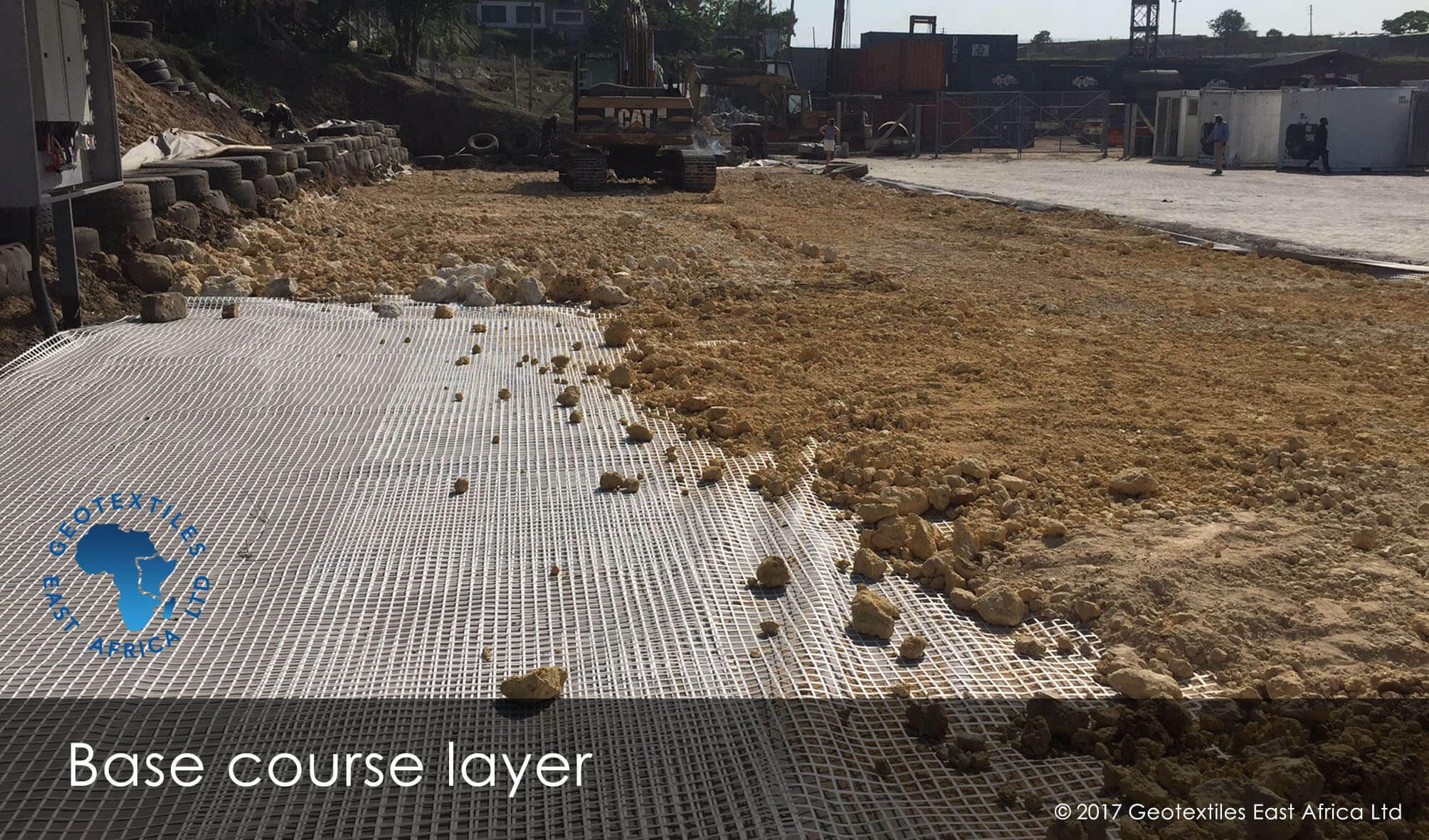 geogrids installation for sublease course in pavement