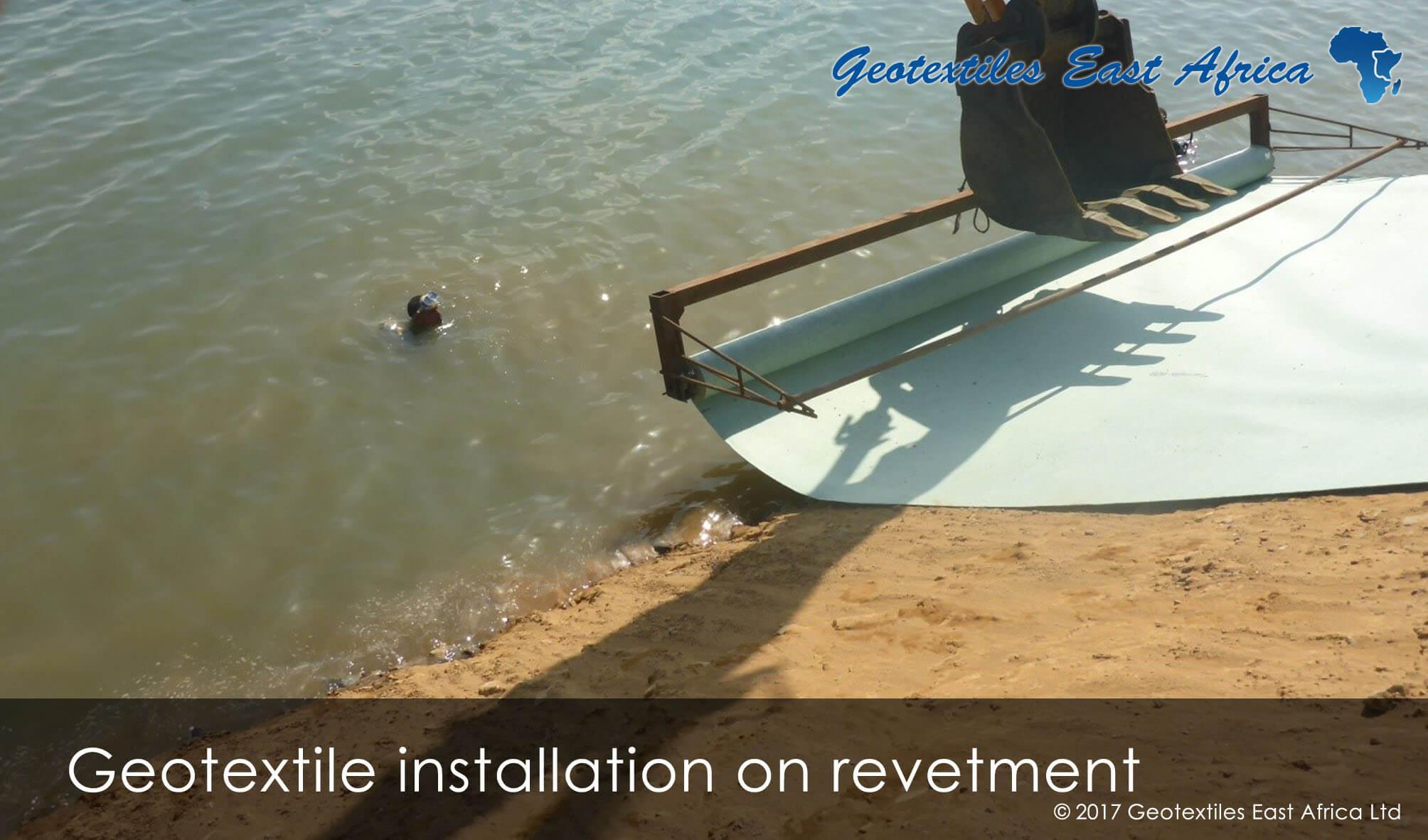 geotextile installation on revetment at KPA