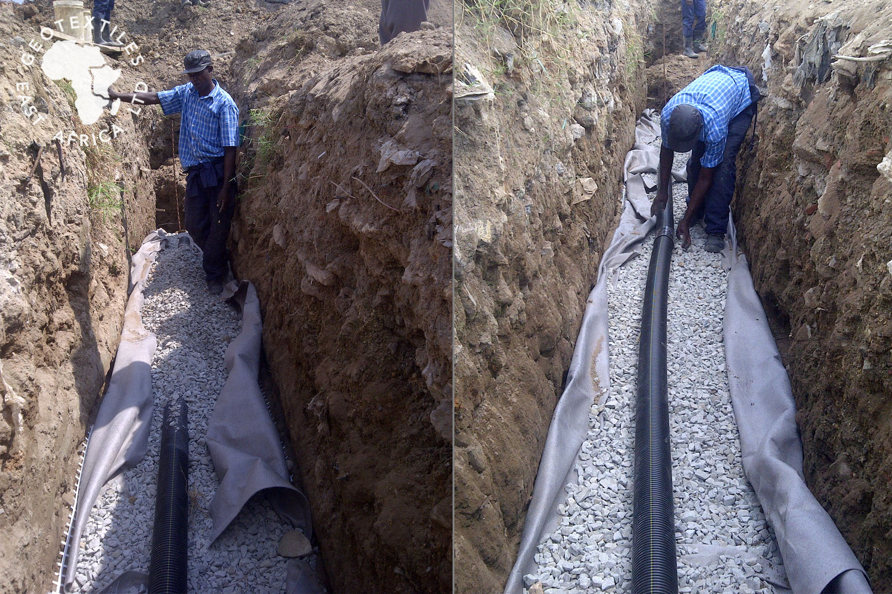 slotted geopipes wrapped in geotextile in kenya