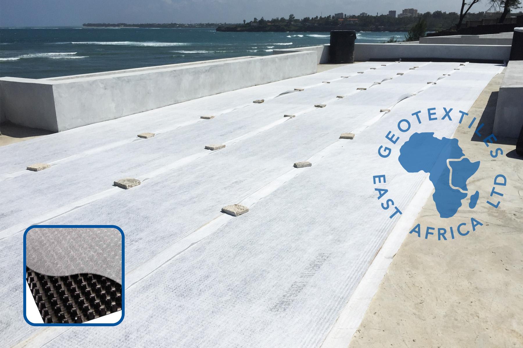 Deckdrain installation on roof garden in kenya