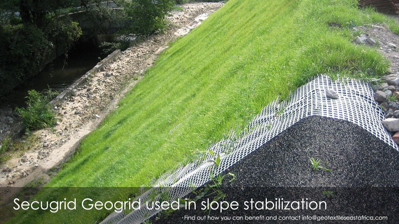 secugrid geogrid used in slope stabilization