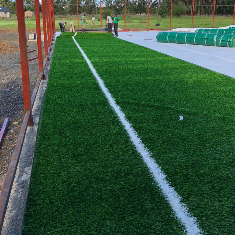 artificial turf installation on geotextile