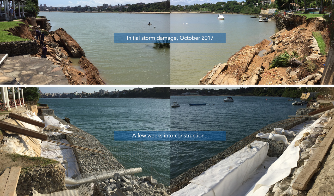 erosion and storm damage remedial works with Geotextiles and pvc coated gabions
