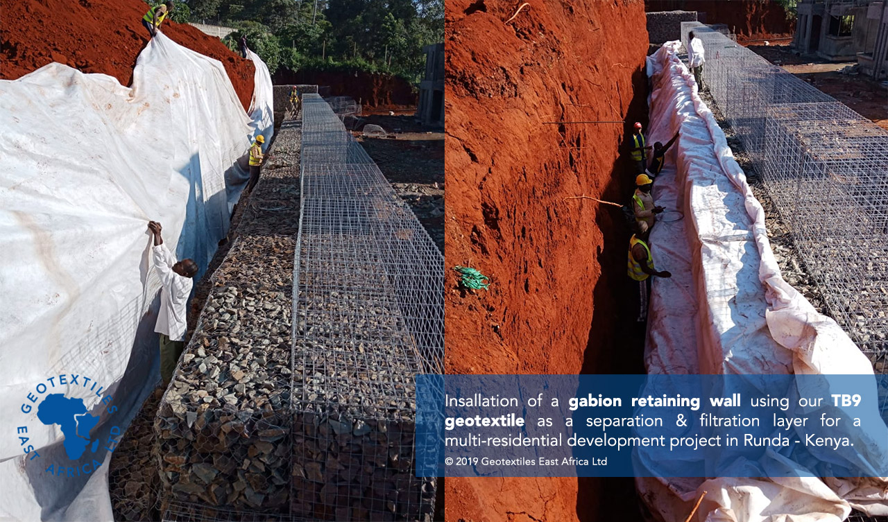 geotextile backing to gabion retaining wall